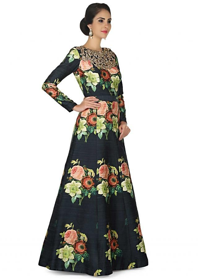 Dark green anarkali suit in raw silk with floral print only on Kalki