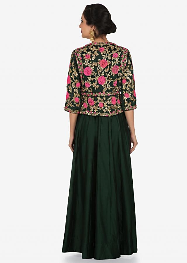 Dark green dress in cotton embellished in frenchknots and gotapatti embroidery work  only on Kalki
