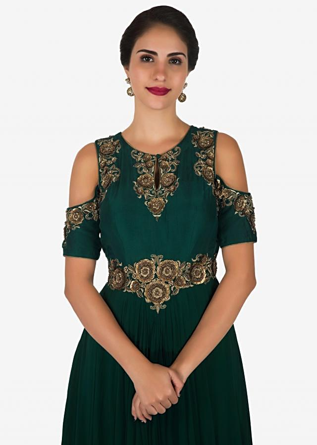Dark green gown in georgette crafted in resham and zari embroidered work only on Kalki