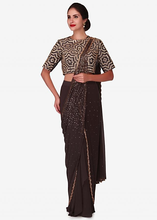 Dark grey pre stitched saree in sequin embroidered pallav only on Kalki