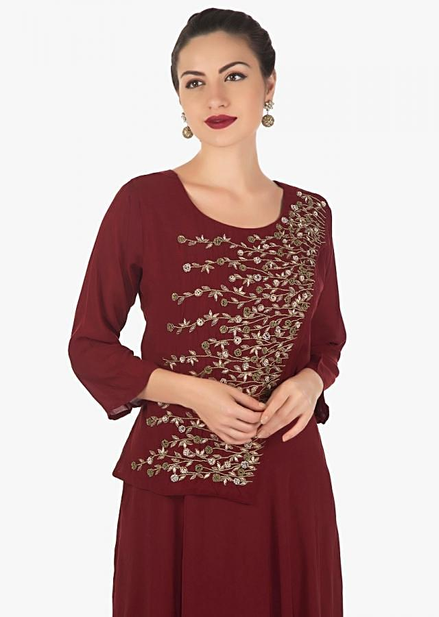 Dark maroon tunic featuring in cotton silk with top layer in zardosi and sequin embroidery only on Kalki