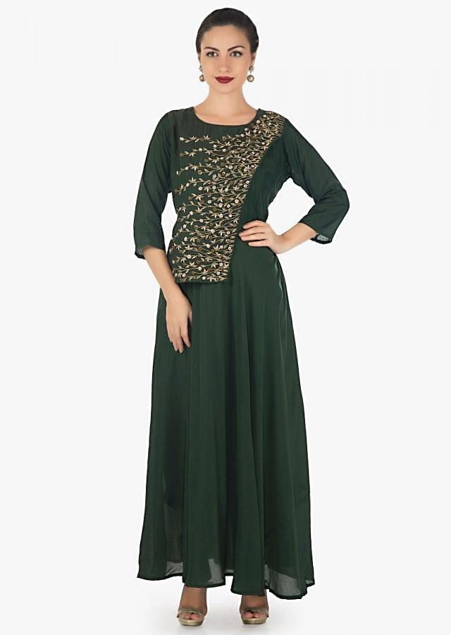 Dark mehendi green tunic featuring in cotton silk with top layer in zardosi and sequin embroidery only on Kalki