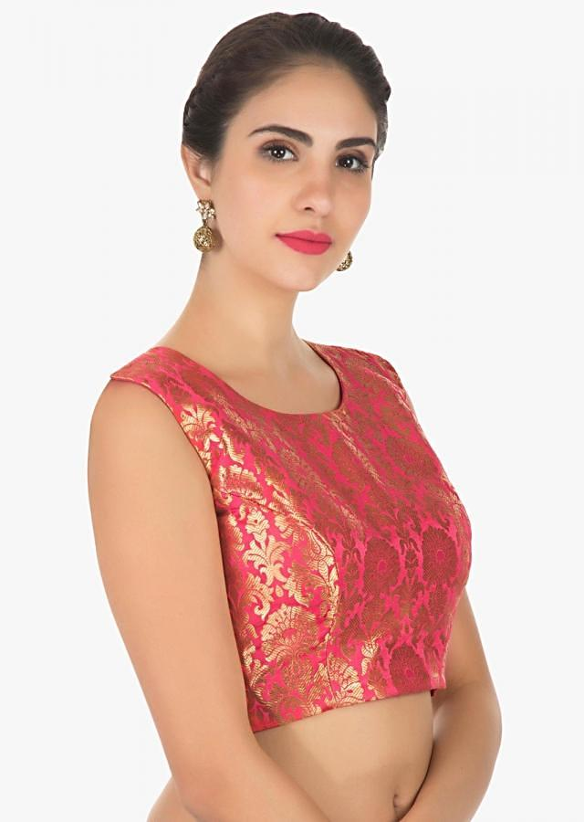 Dark pink and gold brocade blouse with key hole patter for back opening only on Kalki