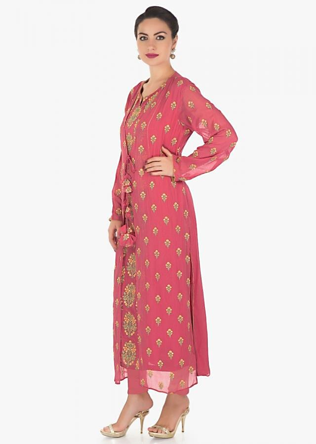 Dark pink suit with attached jacket in georgette in resham and zari work only on Kalki