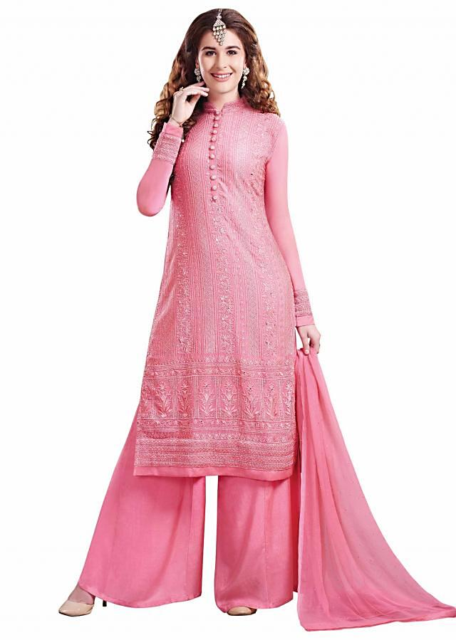Dark pink unstitched suit adorn in resham and kundan embroidery