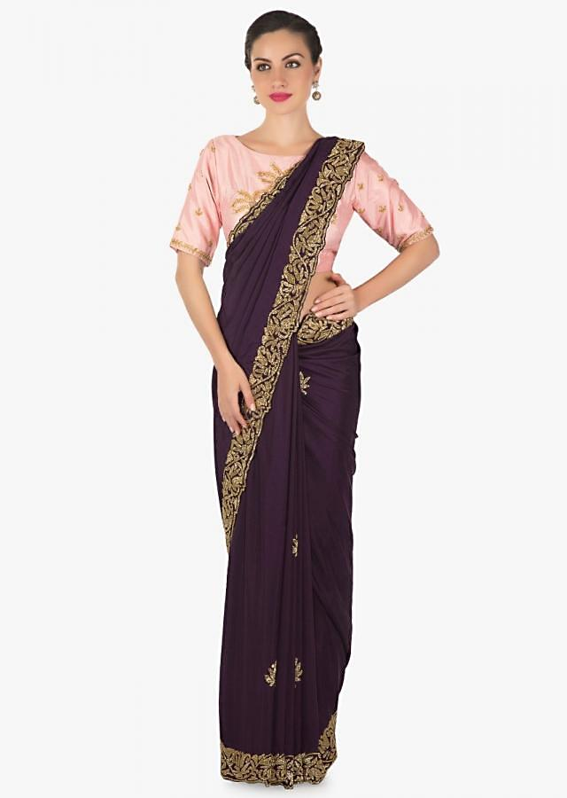 Dark purle saree in satin with cut dana butti and border only on Kalki