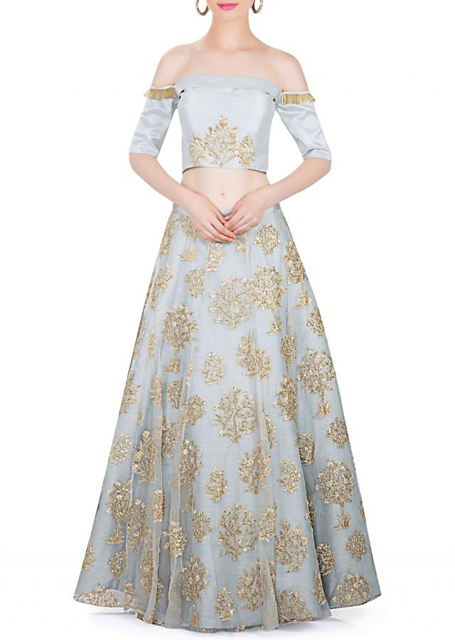 Dawn Blue Fancy Lehenga with Raw Silk Blouse in Zari only on Kalki