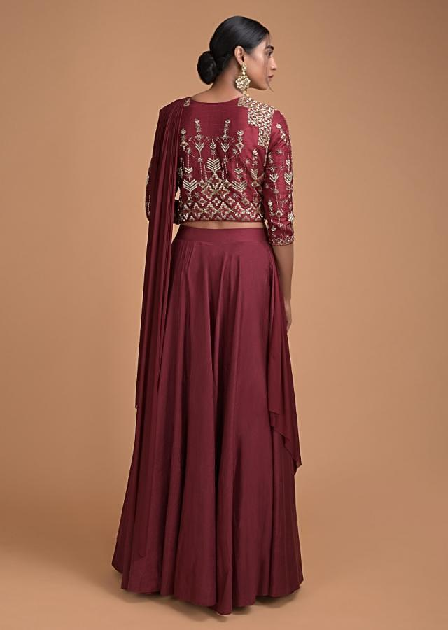Deep Maroon Lehenga With Embroidered Blouse And Pre Stitched Drape Dupatta Online - Kalki Fashion