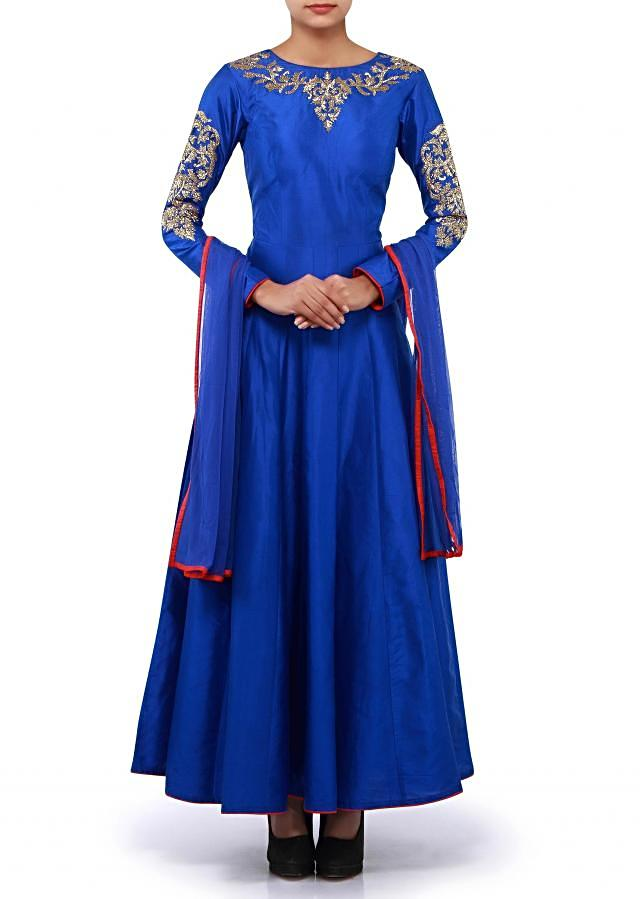 Deep marine blue suit features in kardana embroidery only on Kalki
