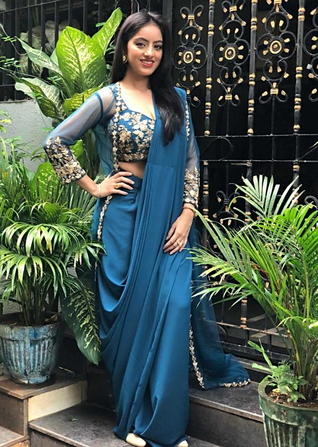 Deepika Singh in Kalki embroidered crop top with draped skirt and jacket only on Kalki