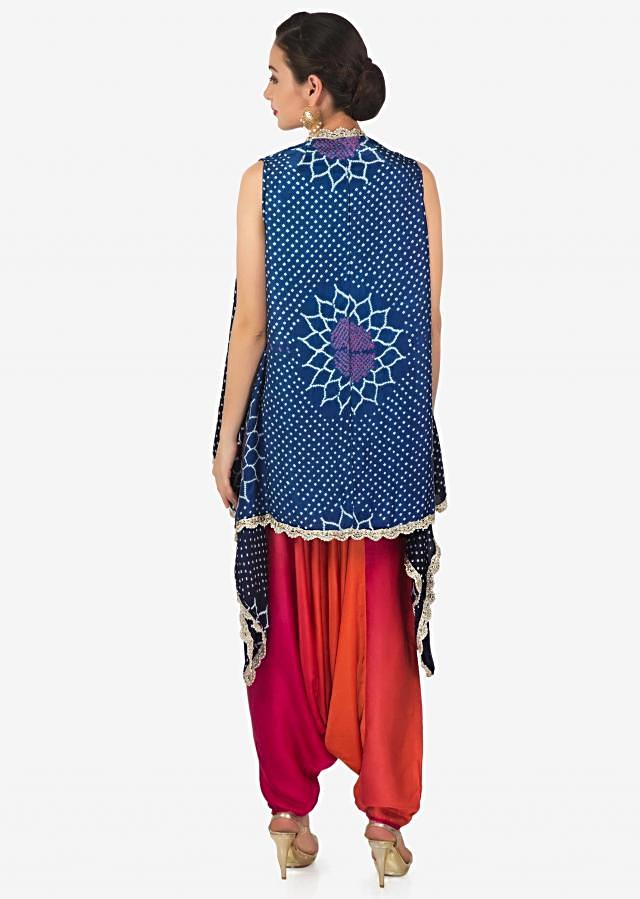 Dhoti set featuring with lucknowi work top and bandhani printed jacket only on Kalki