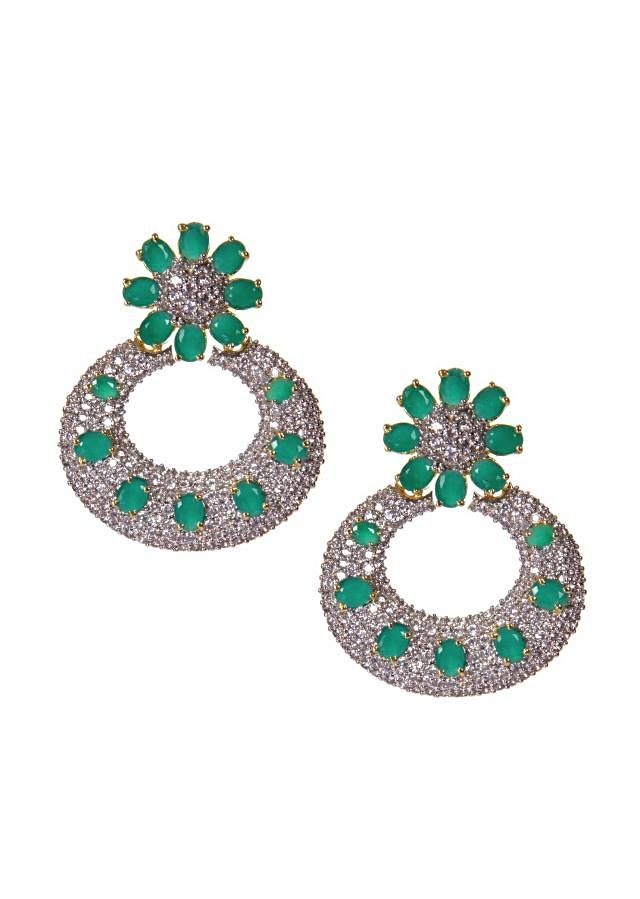 Diamond Earrings Studded With Turquoise Gem Stones only on Kalki