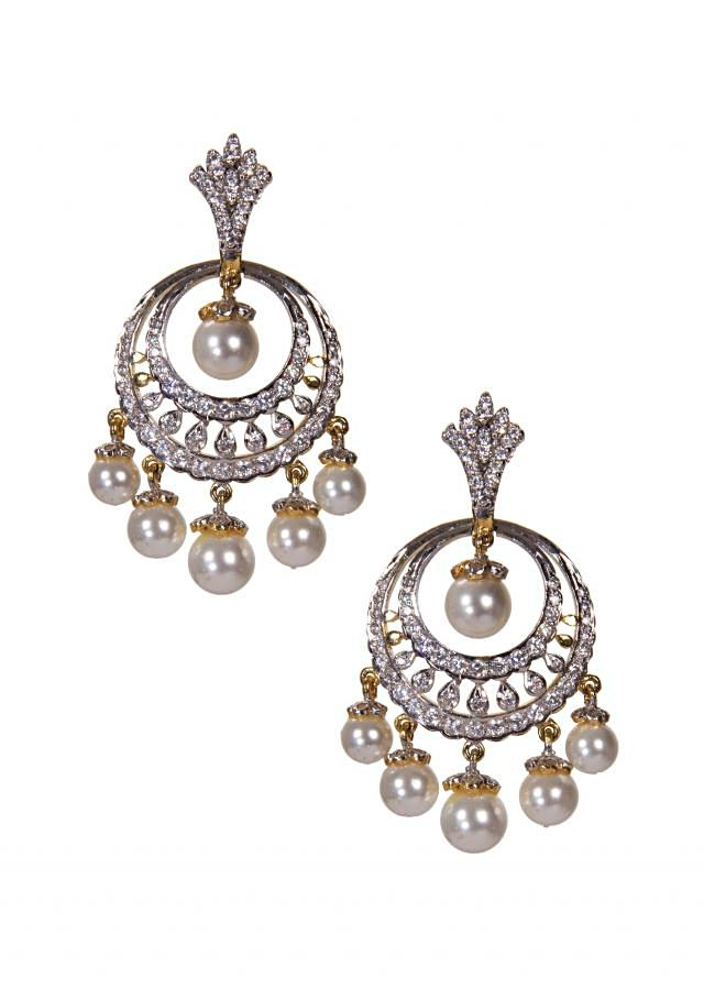 Diamond Studded Chandbalis Embellished With Pearls only on Kalki