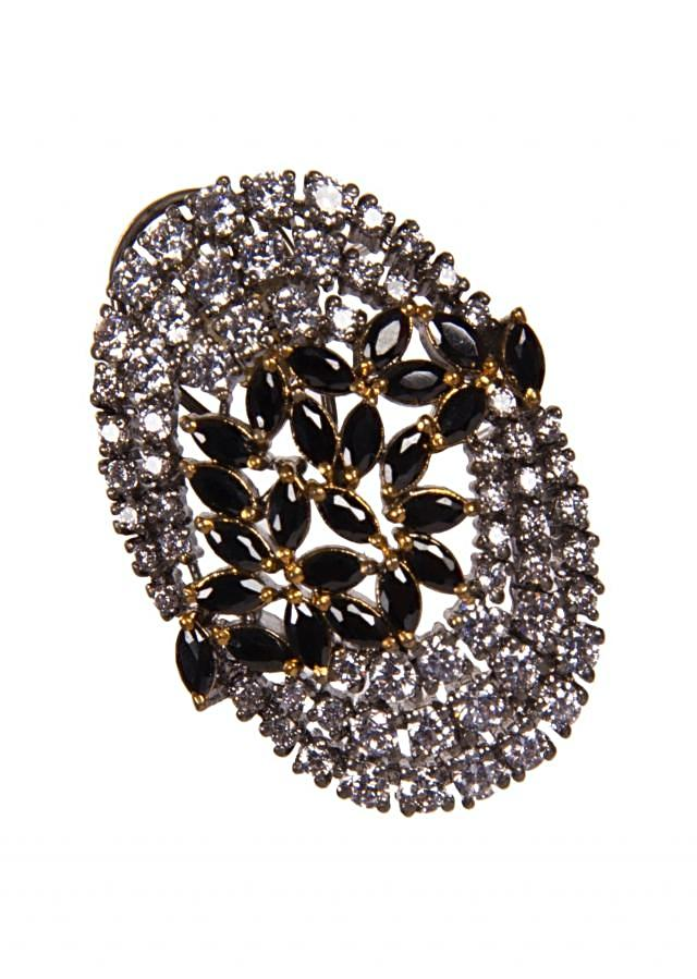 Diamond Studded Earrings Adorn With Black Gemstones In Leaf Motifs only on Kalki