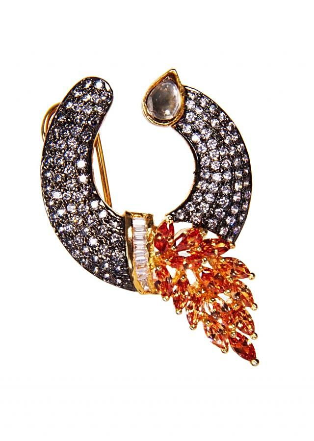 Diamond Studded Earrings With Orange Gemstones only on Kalki