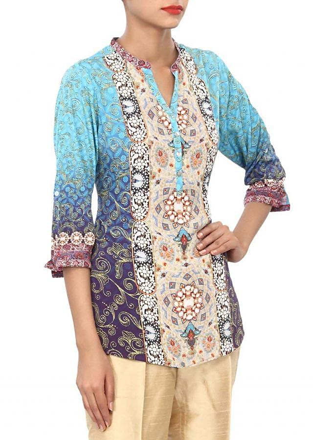 Digital printed kurti enhanced in shell buttons only on Kalki