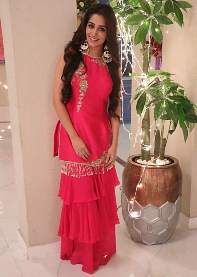 Dipika Kakar in Kalki Hot Pink Sharara Suit Set In Raw Silk With Floral Embroidery Patches