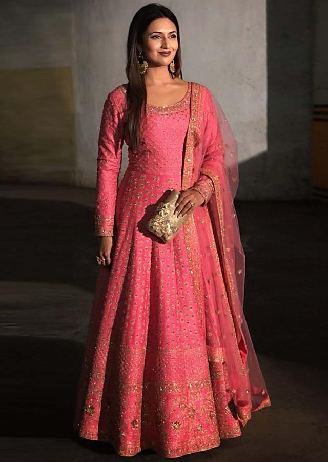 Divyanka Tripathi in Kalki candy pink anarkali suit adorn in delicate zari embroidery all over