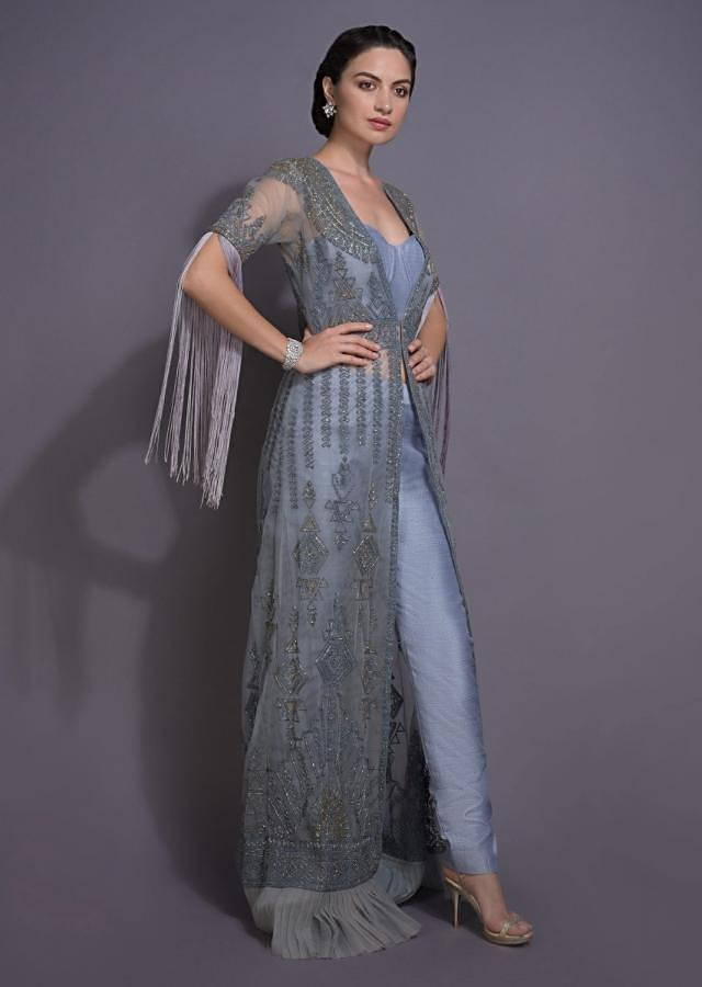 Dolphin Grey Crop Top And Cigarette Pants With Embroidered Long Jacket Online - Kalki Fashion
