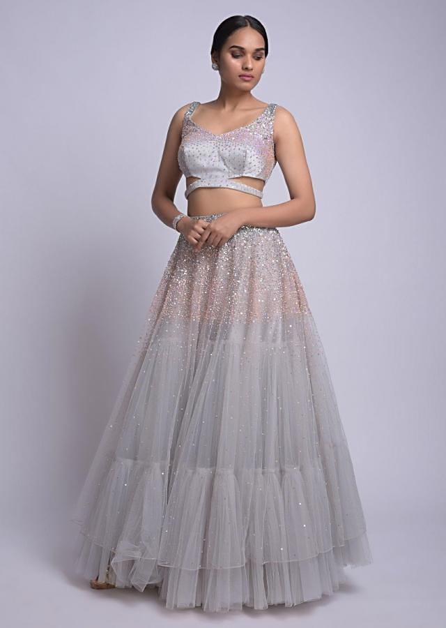 Dolphin Grey Skirt And Crop Top With Sequins Work And Ruffle Dupatta Online - Kalki Fashion