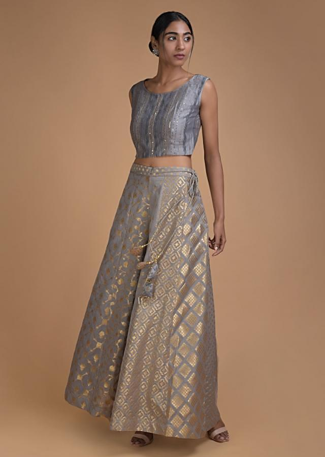 Dolphin Grey Palazzo Suit And Long Jacket With Thread Embroidery Online - Kalki Fashion