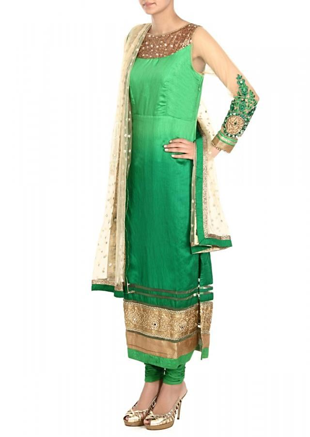 Green shaded suit adorn in mirror and sequin only on Kalki