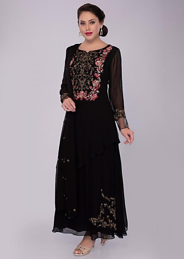 4c062b6cc6 Double layer black georgette suit with embroidered neckline only on kalki