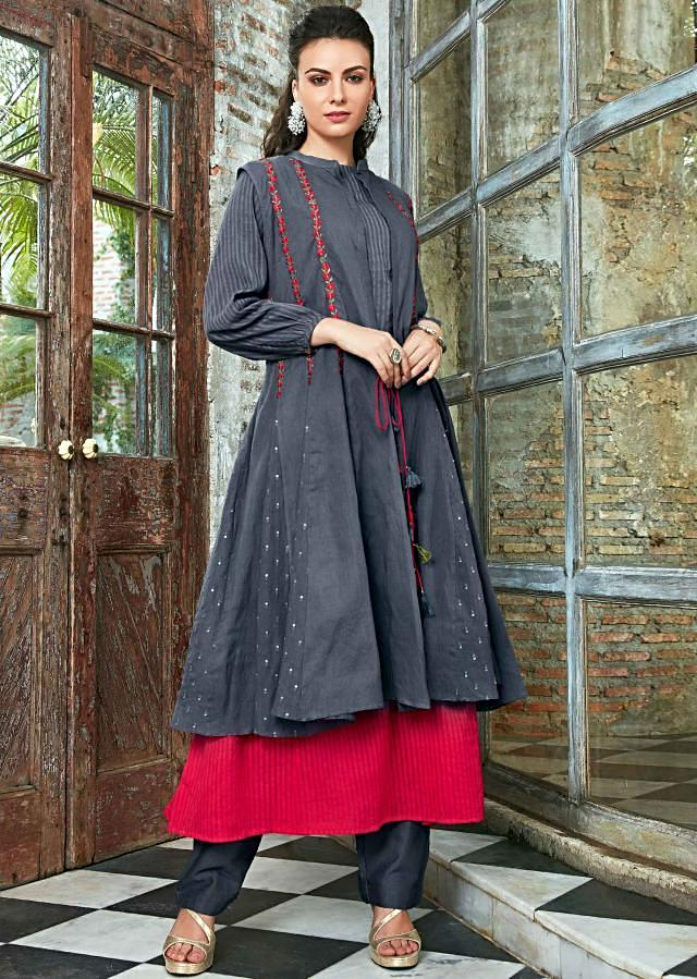 Red And Grey Double Layer Kurti In Cotton Online - Kalki Fashion