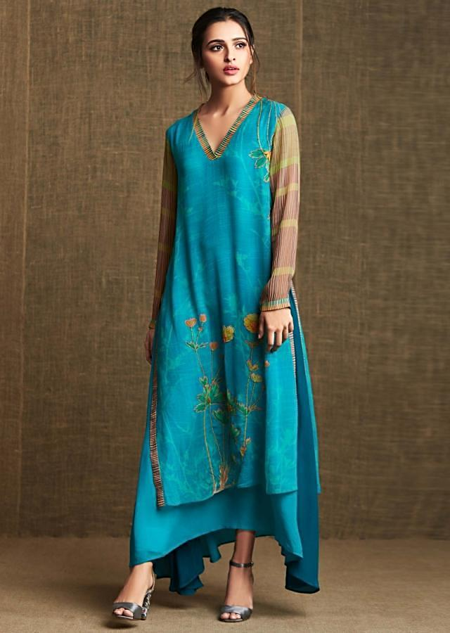 Double layer kurti in georgette with printed piping and french knot embroidery