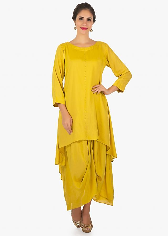 Double Layered A Line Suit With Fancy Drape And Rust Dupatta Online - Kalki Fashion