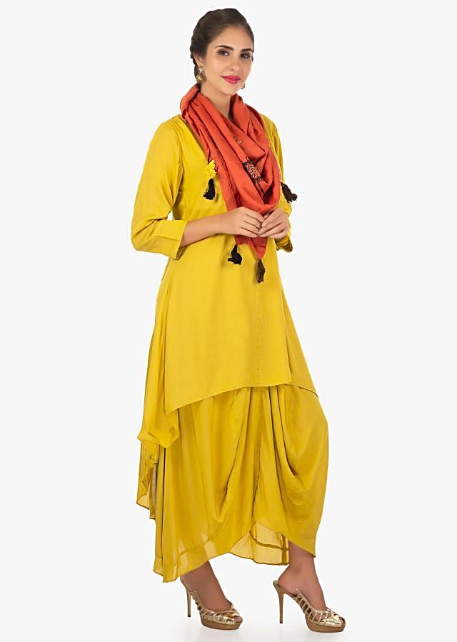Double layered A line suit with fancy drape a rust dupatta only on Kalki