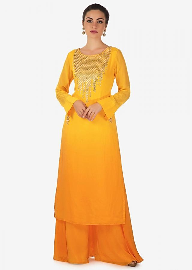 Yellow Shaded Palazzo Suit With Moti And Sequin Work Online - Kalki Fashion