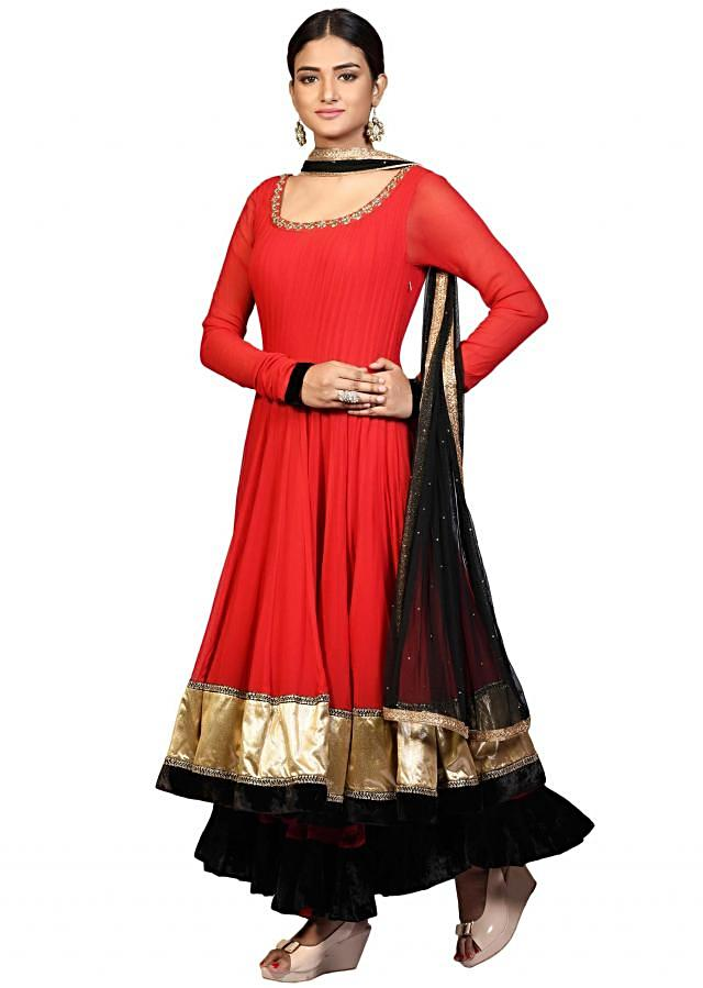 Double layer anarkali suit in red georgette with embroidered neckline