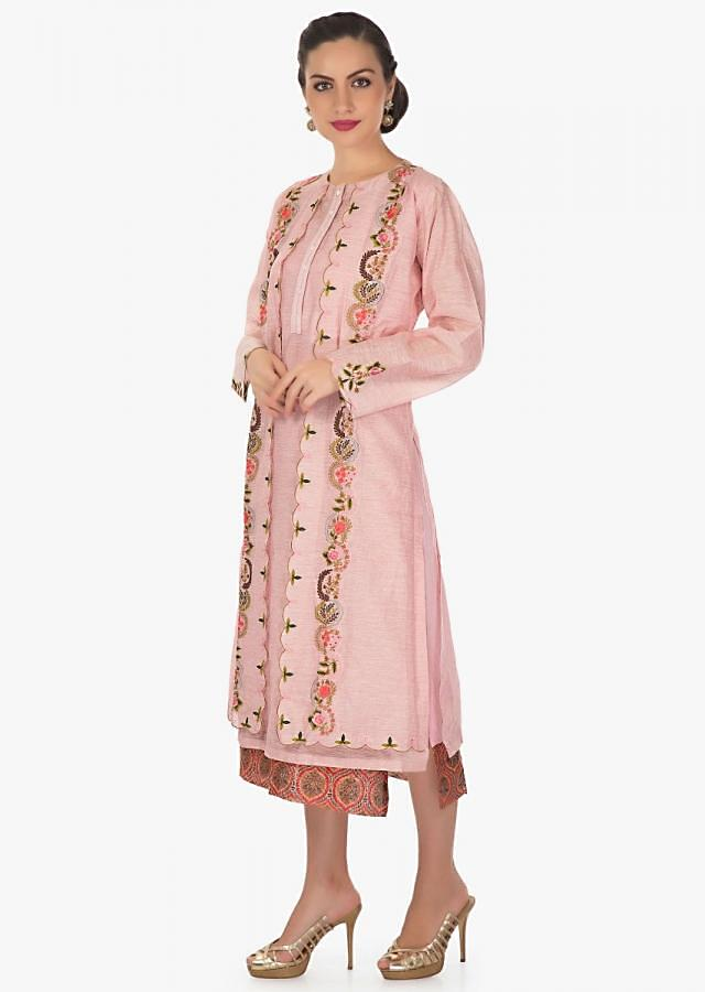 Double layer kurti in silk with resham embroidered jacket only on Kalki