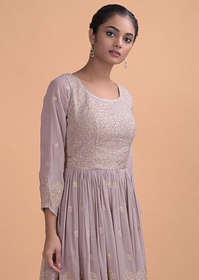 Dove Grey Sharara Suit In Georgette With Zari And Kundan Work In Floral Jaal And Buttis Online - Kalki Fashion