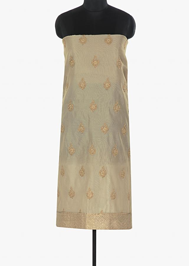 Dove grey unstitched silk suit embellished in zari butti only on Kalki