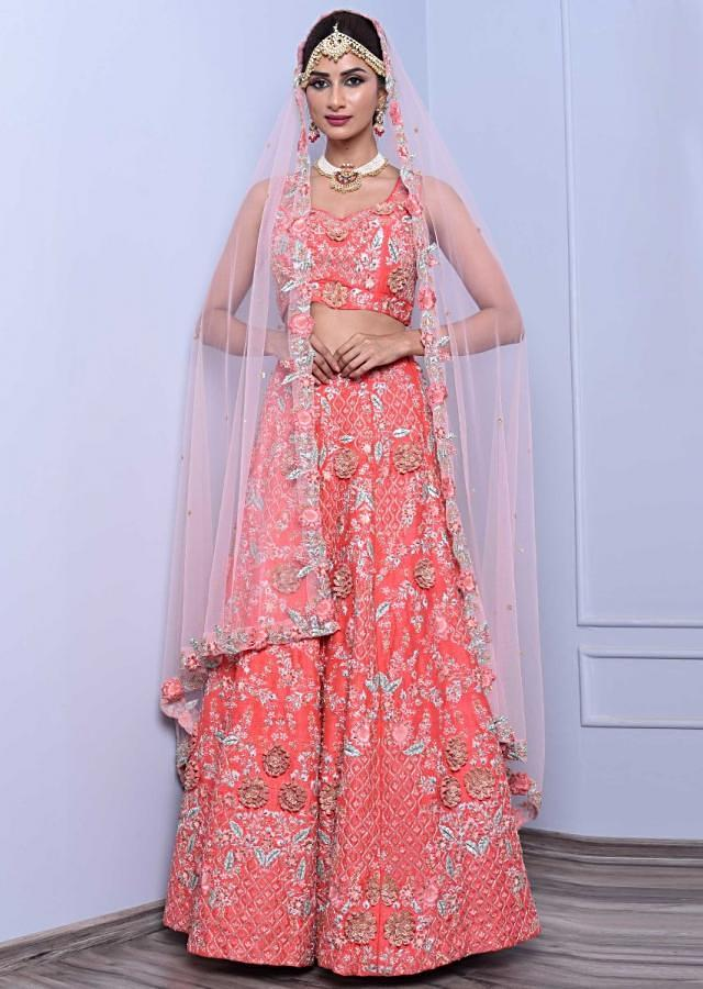 Cherry Red Raw Silk Lehenga Set In Cut Dana, Sequin, Moti And 3D Floral Embroidery Online - Kalki Fashion