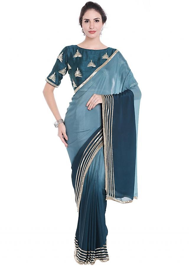 Dusk Blue And Navy Blue Shaded Saree In Satin Georgette With Lace Border Online - Kalki Fashion