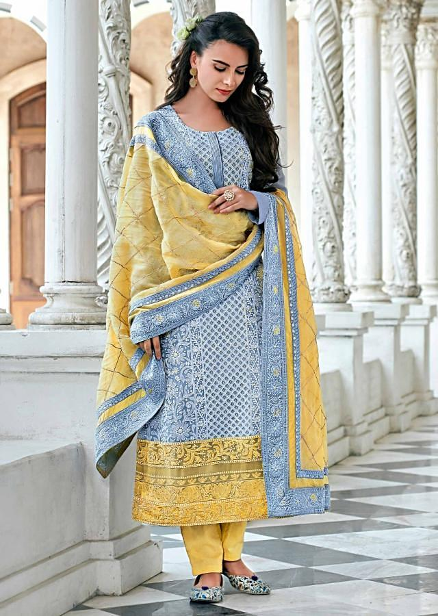 Dull Blue Straight Suit In Chiffon With Checks And Floral Motif Embroidery Online - Kalki Fashion