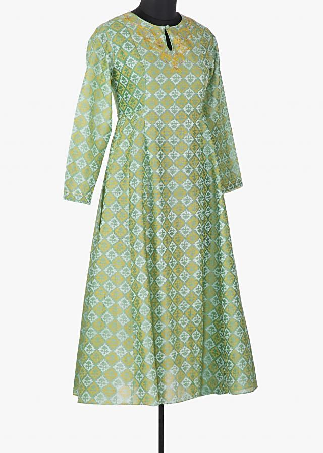 Dull green printed kurti with resham neckline and key hole opening only on Kalki
