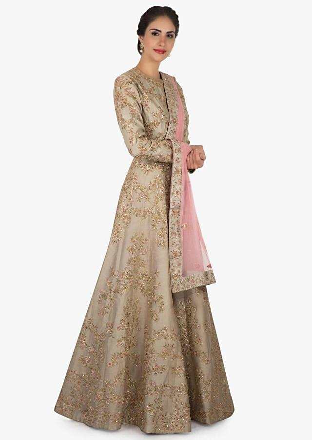 Dull grey anarkali gown with pink dupatta crafted with heavy zari resham embroidery work only on Kalki