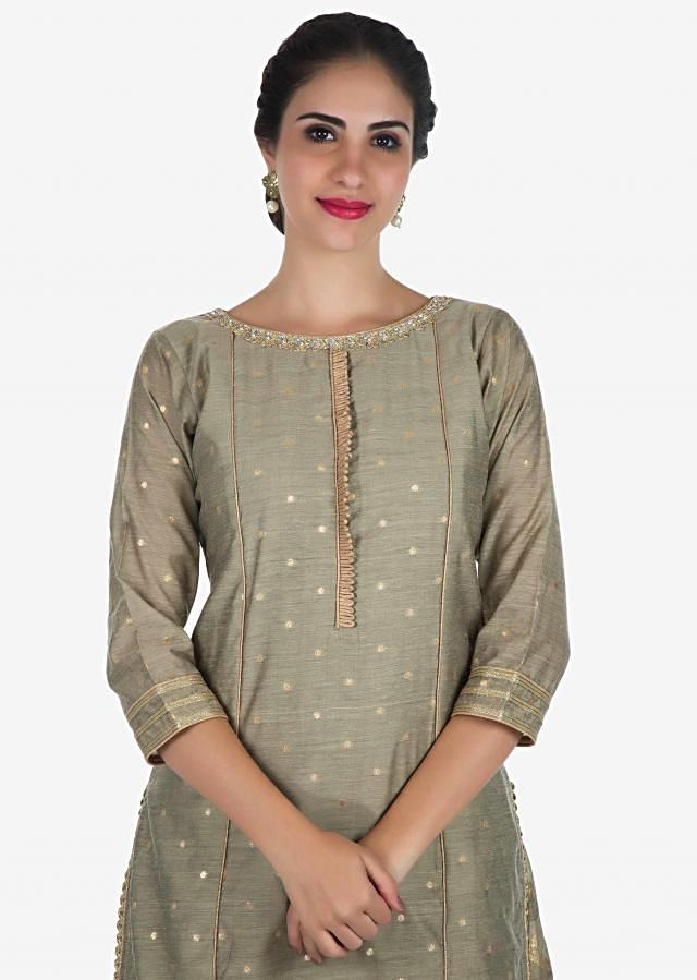 Dull Grey palazzo suit in brocade adorn in kundan embroidery work only on Kalki