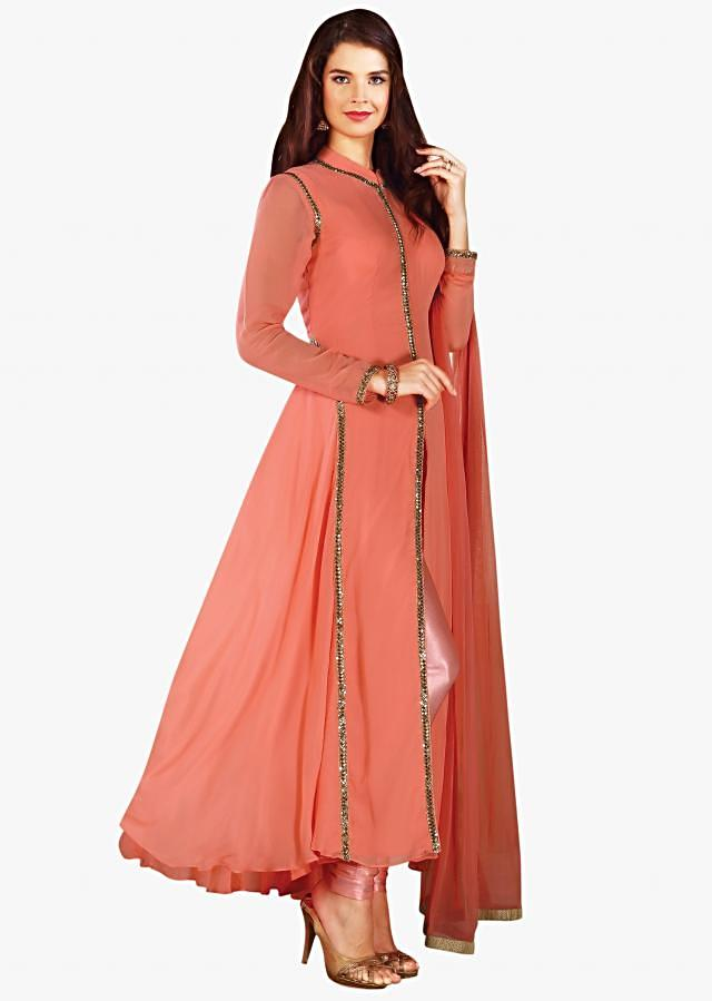 Dull pink A line suit in cut dana embroidered collar and placket