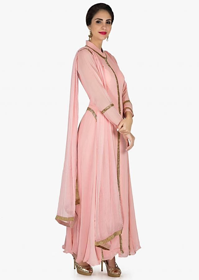 Dull pink A line suit in cut dana embroidered collar and placket only on Kalki