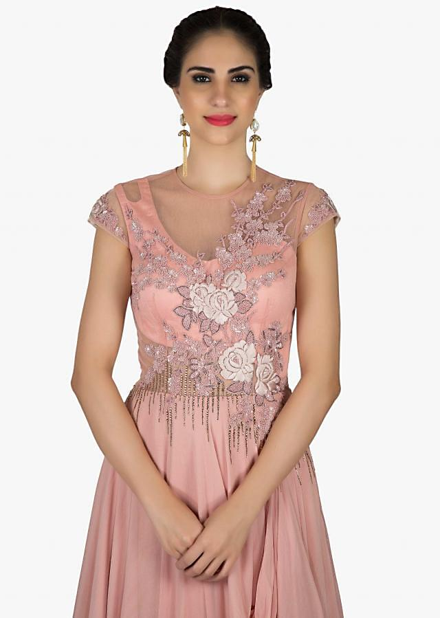 Dull pink gown in georgette with thread embroidery and fancy drape only on Kalki