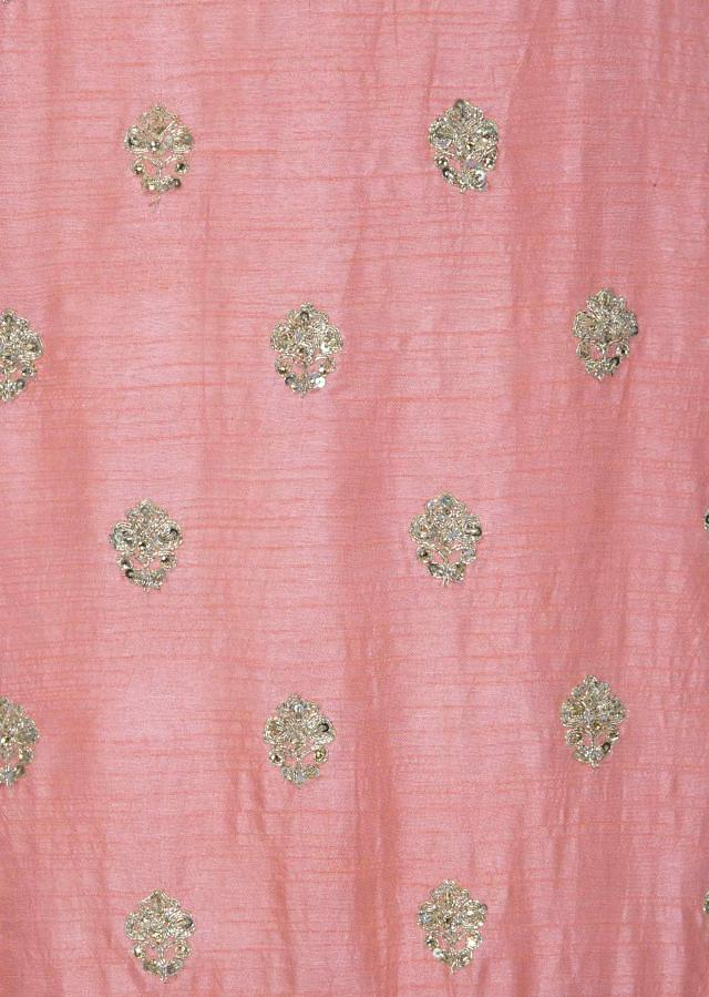 Dull pink unstitched suit with zari and sequin butti only on Kalki