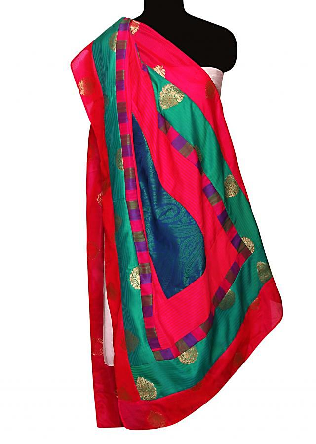 Dupatta in multi color with brocade silk only on Kalki