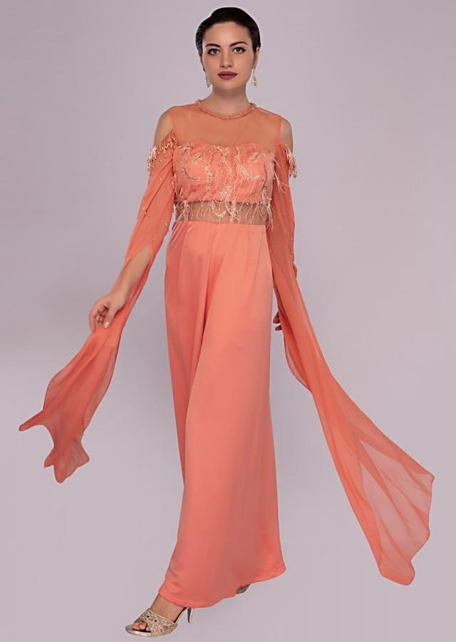 Peach Jump Suit In Dupion Silk With Embroidered Bodice Online - Kalki Fashion