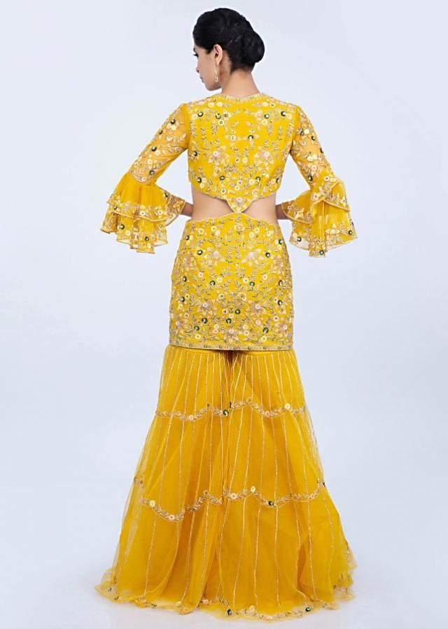 Dustan Sun Mustard Body Fitting Suit With Side Cut Outs Paired With A Matching Palazzo Online - Kalki Fashion