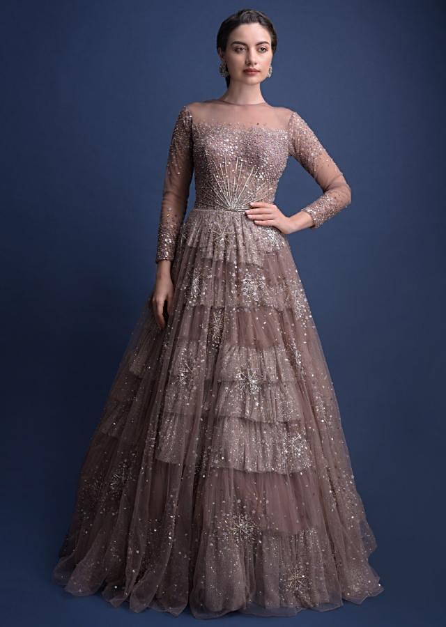 Eve Champagne Gown In Hand Crafted Net With Snowflake Motifs Online - Kalki Fashion